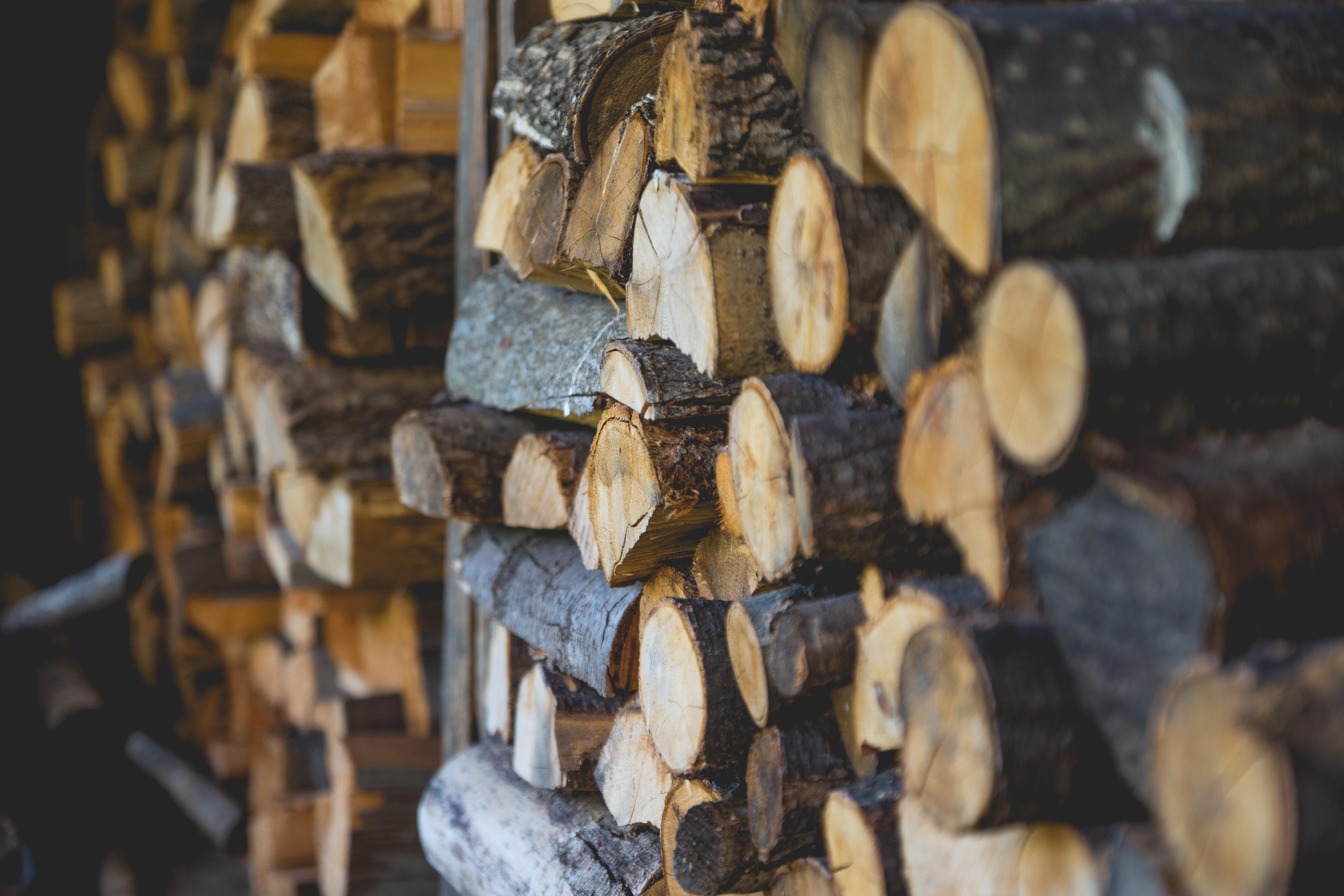 Tas de rondins de bois utilisés pour de la construction
